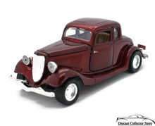 1934 Ford Coupe MOTORMAX Diecast 1:24 Scale Candy Red