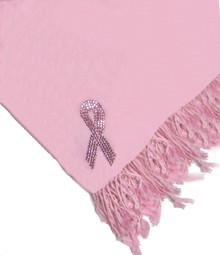 Breast Cancer Pink Crystal Ribbon Silk Pashmina
