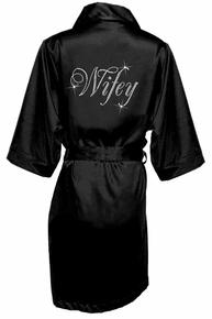Glam Script Rhinestone Wifey Satin Robe