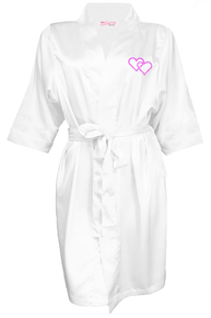 Crystal Embellished Satin Robe with Double Hearts Design