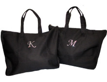 Zippered  Initial Tote Bag with Iridescent Crystal Initial