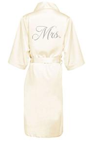 Glam Script Rhinestone Mrs. Long Satin Robe
