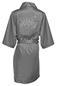 Rhinestone Wifey Satin Robe in Double Edwardian Script