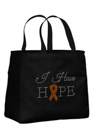 Black Tote Bag with Sun Orange Ribbon