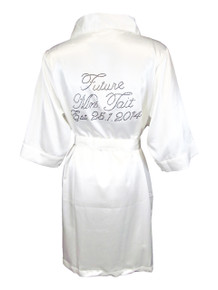 "Custom""Future Mrs. Satin Bridal Robe with ""Established"" Date"