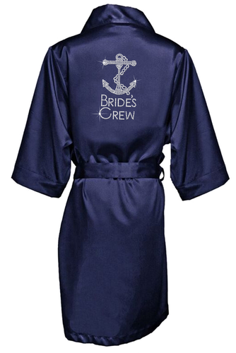 Rhinestone Bridal Party Robes with Large Anchor Design