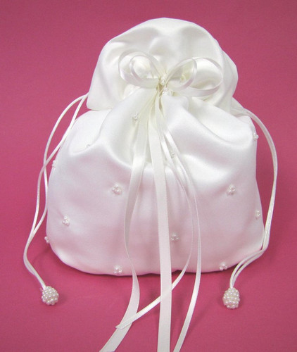Special Buy! Satin Bridal Purse with Triple Pearls and Ribbons - Ivory