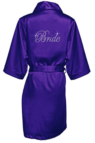 Two Stone Bride Short Satin Robe