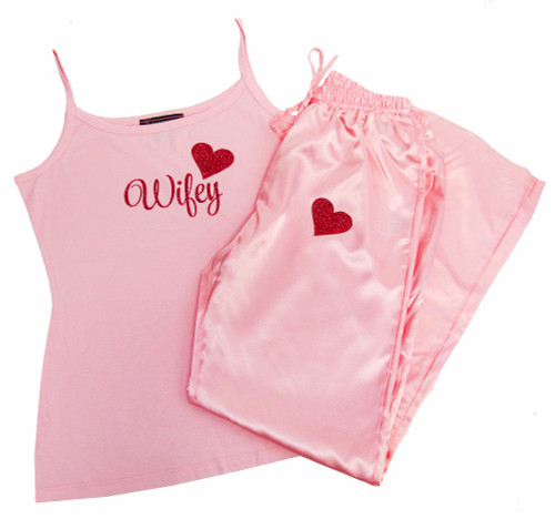 Satin Wifey Pajama Pants and Cami Set with Glitter Print