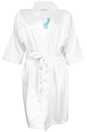 Satin Bridal Party Robe with Embroidered Title on Collar