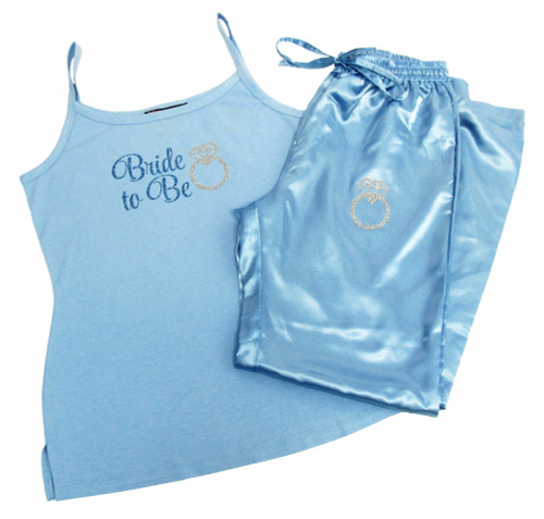 Satin Bride to Be Pajama Pants and Cami Set with Glitter Print