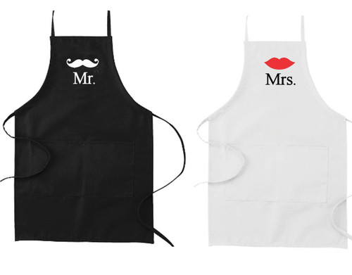 Custom Mr and Mrs His and Hers Apron Set