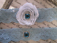Bridal Blue Lace Garters with Aqua Blue Brooches