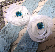 Blue Lace Bridal Garters with White Chiffon Roses