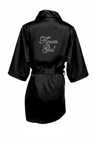 Rhinestone Flower Girl Satin Robe in Edwardian Font