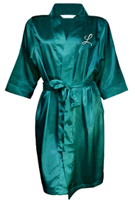 Satin Robe Embroidered with Single Intial