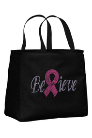 Breast Cancer Tote Bag with Believe Ribbon Rhinestone