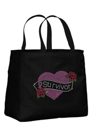 Breast Cancer Tote Bag with Survivor Tattoo Rhinestone