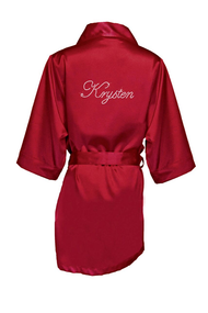 Girl's Satin Robe with Custom Name in Edwardian Font