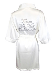 "Custom""Future Mrs. Satin Bridal Robe with ""Established"" Date"