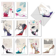 Note Cards with Fashion-Loving Cats in High Heel Shoes