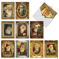 Gilt framed Santa Clause is classic in this series that shoes traditional versions of Kris Kringle from early Christmases.