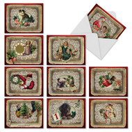 Lace doilies offer a backdrop for nostalgic Victorian imagery of kittens, puppies, angels, Santa, children and New Year's best wishes.