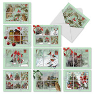 A light green border frames winter holiday scenes, cut into portions like a page of stamps in this artful take on holiday cards.