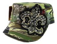 Camouflage Fleur De Lis Vintage Hat with Rhinestones