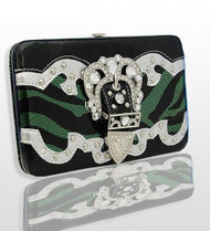 Green and Black Zebra Print Western Style Buckle Wallet