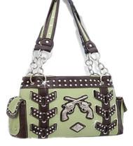 Green Western Double Pistol Rhinestone Handbag