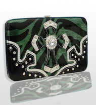 Green Western Style Cross Wallet with Rhinestones
