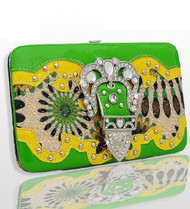 Green and Yellow Pattern Buckle Rhinestone Wallet