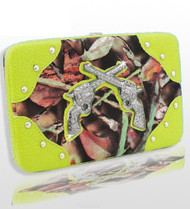 Lime Green Camo Fashion Double Pistol Wallet With Rhinestones