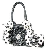 Polka Dot Black Flower Rhinestone Purse W Matching Wallet