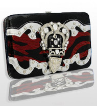 Red and Black Zebra Print Western Style Buckle Wallet