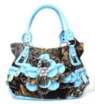 Western Blue Camouflage Flower Rhinestone Fashion Purse