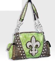 Lime Green Western Style Rhinestone Fleur De Lis Handbag