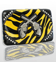 Yellow Zebra Fashion Double Pistol Wallet With Rhinestones