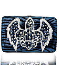 Blue Western Style Fleur de Lis with Wings Wallet