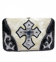 Beige Studded Cross Wallet