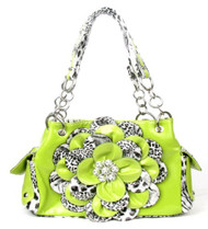 Leopard Lime Green Flower Rhinestone Handbag