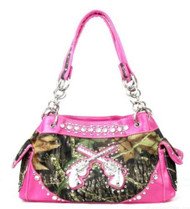 Western Pistol Gun Pink Camouflage Rhinestone Handbag