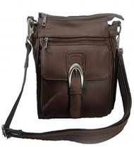 Leather Concealed Carry Cross Body Gun Purse Left or Right Hand W/ Holster-Brown