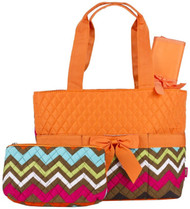 Orange Chevron Quilted Diaper Bag with Changing Pad and Accessory Case - 3 Piece