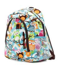 Owl Chevron Print Backpack Brn