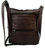 Brown Leather Concealed Carry Handbag Roma 7082