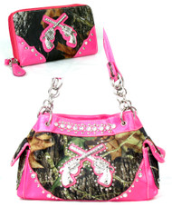 Pink Camo Fashion Double Pistol Purse With Rhinestones W Matching Wallet