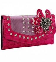 Pink Deco Flower Rhinestone Wallet