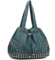 Blue Cinch Tie Stone Washed Studded Purse